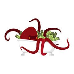 Octopus in bath and money. devilfish protects treasure cash. Vector illustration