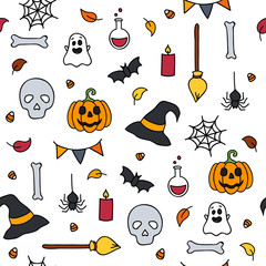 Halloween seamless pattern doodle isolated set of scary items