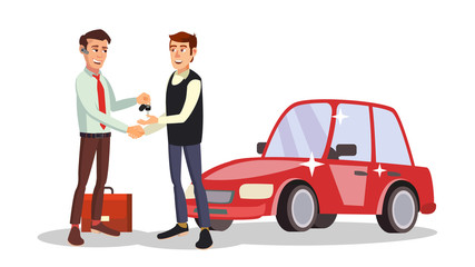 Car Dealer Man Vector. Automobile Sales Agent. Selling Or Rent A Car. New Machine. Flat Business Cartoon Illustration
