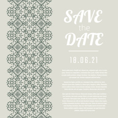 Save the Date invitation. Wedding card with green ornate borders.