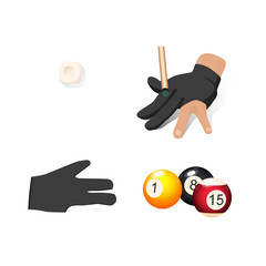 vector flat cartoon billiard snooker, pool equipment objects set. cue chalk block ,hand in glove, colored balls with numbers. Isolated illustration on a white background.