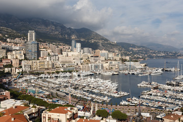 Panoramic view on marina and residential buildings in Monte Carlo