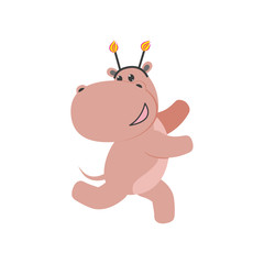 vector flat cartoon cheerful hippo kid character having fun running wearing party hat happily smiling. isolated illustration on a white background. Animals party concept