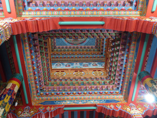 Beautiful colorful top wall of Buddhist temple in Upper Pisang, Nepal, Annapurna Circuit trek