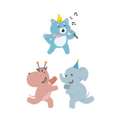vector flat cheerful elephant, hippo kid character having fun running wearing party hat happily smiling, cat singing with microphone. isolated illustration on a white background. Animals party concept
