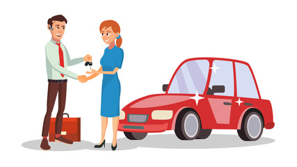 Car Dealer Salesperson Vector. Choosing New Machine Concept. Seller Man. Cartoon Business Character Illustration
