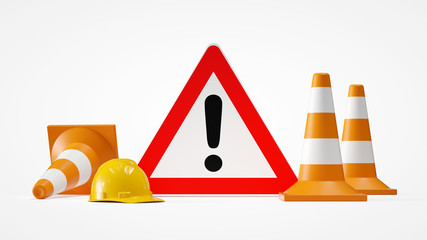 attention sign with traffic cones 3d rendering