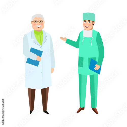 Two Male Doctors Therapist And Surgeon Medical Staff Hospital
