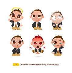 Cute baby characters emotions set.