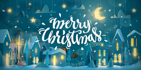 Horizontal Merry Christmas Card for winter holiday.