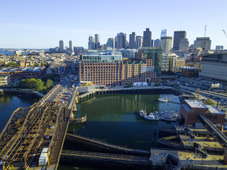 Pier of Boston Massachusetts USA, Wharf with sailboat and yachts in Charles Rive, skyline skyscrapers