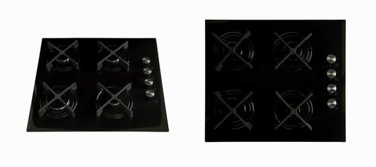 black kitchen hob against white background two foreshortening