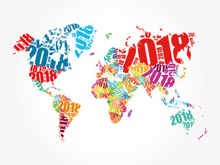 Door stickers World Map 2018 Happy New Year, in shape of World Map typography, word cloud collage concept