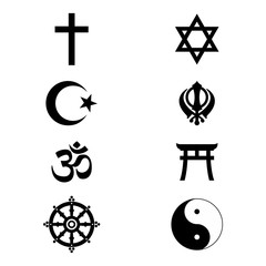 World religious sign and symbols collection. Vector illustration