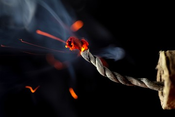 Burning fuse of a fireccracker