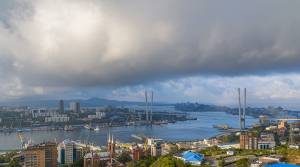 Wall Mural - Vladivostok cityscape at early morning.