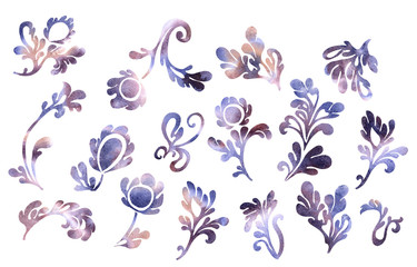 Retro purple flower and leaves exquisite vintage collection