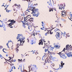 Retro purple flower and leaves exquisite vintage ornament pattern