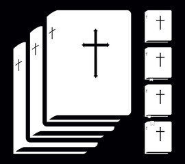 Holy Bible. Book Pictogram. Set Vector Icons