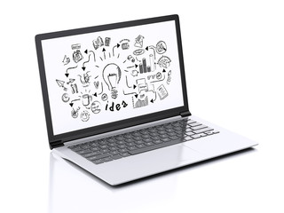 3d Laptop with business skecth on screen