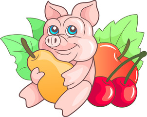 funny cartoon pig with a pear