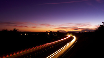Light trails on a clear evening in October, under a harvest moon