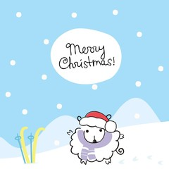 Christmas card with sheep in the bell of Santa Claus and skiing with handwritten text: merry Christmas! Vector illustration. Doodle art.