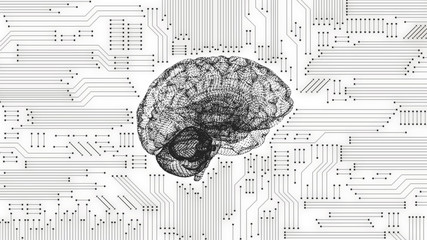 Monochrome computer brain on circuit board