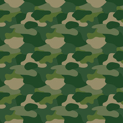 Green camouflage. Masking camo. Classic clothing print. Vector pattern