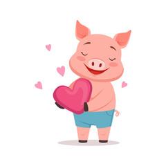 Cute happy pig holding pink heart, funny cartoon animal vector Illustration