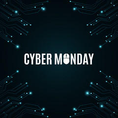 High-tech background from a computer circuit board for a cyber sale Monday. Computer mouse. Great sale. Glowing neon blue connectors. Vector
