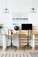 Designed office with light bulbs