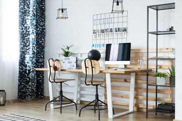 Modern workspace with wooden boards
