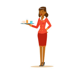 Smiling woman stewardess with tray of drinks