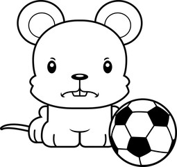 Cartoon Angry Soccer Player Mouse