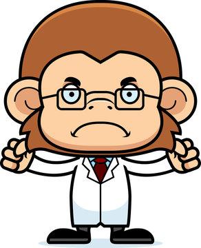 Cartoon Angry Scientist Monkey