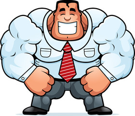 Poster Superheroes Cartoon Muscular Businessman