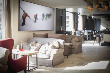 Interior of ski resort lobby