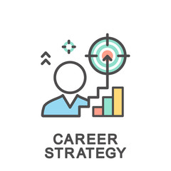 Icons of career ladder progress and corporate advancement process. Career strategy. The thin contour lines with color fills.