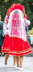 Girls in national Russian folk costumes
