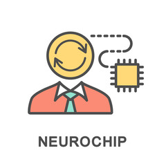 Icon neurochip. A chip with built-in brain cells controls the nerve impulses. The thin contour lines with color fills.