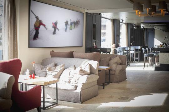 Interior of ski resort lobby