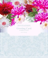 Invitation Card vector. Colorful flowers. Fuchsia pink colors