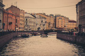 Architecture and water canal in Saint Petersburg, Russia