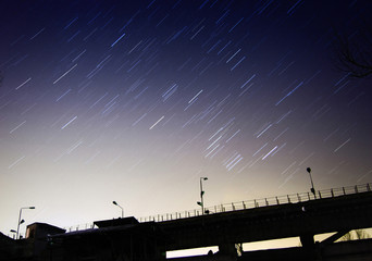 Star trailsn at night