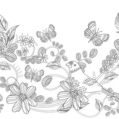 seamless border with cute bird on swirl floral twig for your col