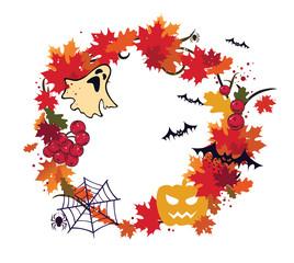 Autumn, halloween wreath frame
