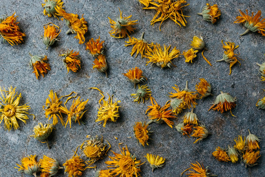 Dried marigold flowers from above