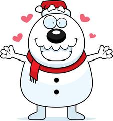 Cartoon Snowman Santa Hug