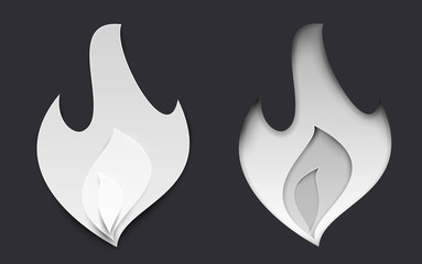 Paper cut cartoon fire flame in realistic trendy craft style. Modern origami design. Concept for greeting card, cover, poster, banner backgrounds. Vector illustration.